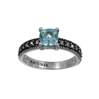 MARC Sterling Silver Semi-Top Sky Blue Topaz & Marcasite Tiny Ring (3 options available)