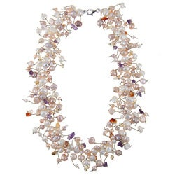 DaVonna Silver Colored FW Pearls and Gemstone Necklace (5 mm)
