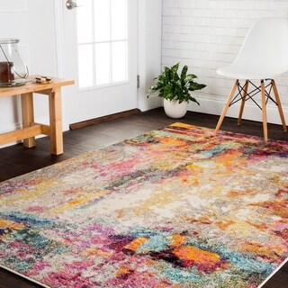 Vintage Bohemian Pink/ Multi Abstract Distressed Rug - 6'7 x 9'2