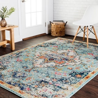 "Alexander Home Vintage Bohemian Blue/ Multi Floral Medallion Distressed Rug - 6'7"" x 9'2"""