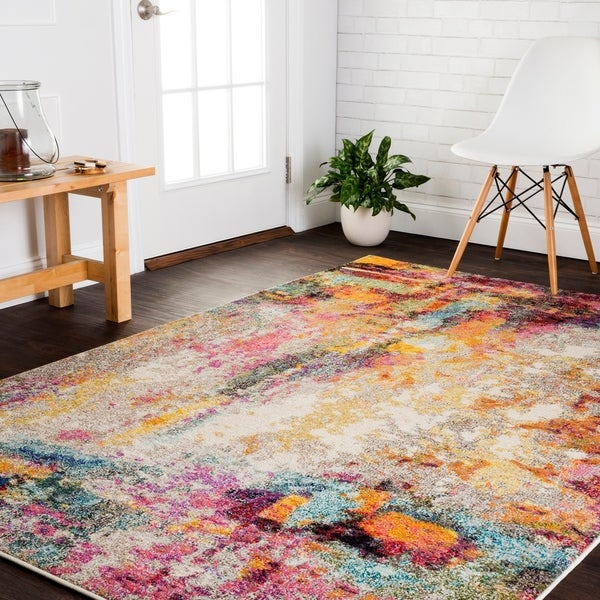 Vintage Bohemian Pink/ Multi Abstract Distressed Rug - 10' x 14'