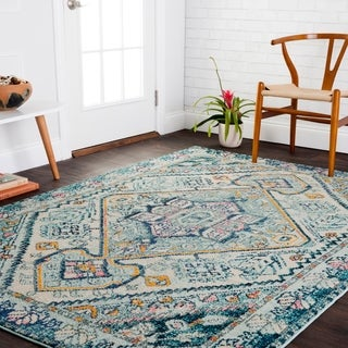 "Vintage Bohemian Blue/ Multi Medallion Distressed Rug - 6'7"" x 9'2"""
