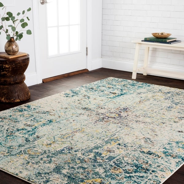 "Vintage Bohemian Aqua Blue Multi Medallion Distressed Rug - 5'1"" x 7'7"""