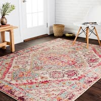 Vintage Bohemian Pink/ Multi Medallion Distressed Rug - 9'2 x 12'