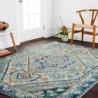 Vintage Bohemian Blue/ Multi Medallion Distressed Rug - 9' x 12'