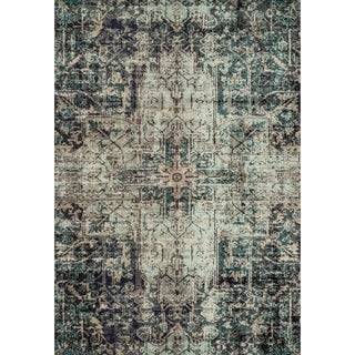 Vintage Bohemian Grey/ Blue Medallion Distressed Rug - 12' x 15'