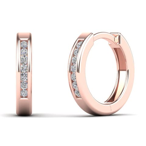 AALILLY 10k Rose Gold 1/10ct TDW Diamond Huggie Hoop Earrings (H-I, I1-I2)