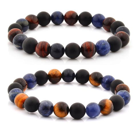 Crucible Tiger's Eye and Matte Onyx Beaded Stretch Bracelet (10mm)