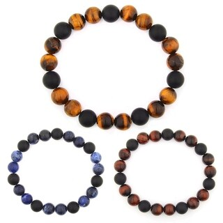Natural Stone Beaded Stretch Bracelet (10mm Wide)