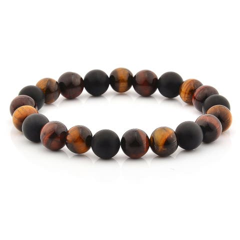 Tiger's Eye and Matte Onyx Beaded Stretch Bracelet (10mm Wide)