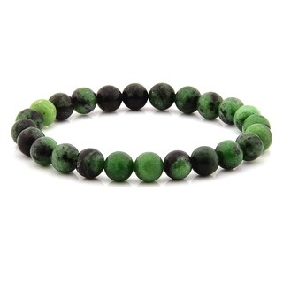 Polished Green Jasper Stone Beaded Stretch Bracelet (8mm)