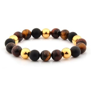 Tiger's Eye and Stainless Steel Beaded Stretch Bracelet (10mm)