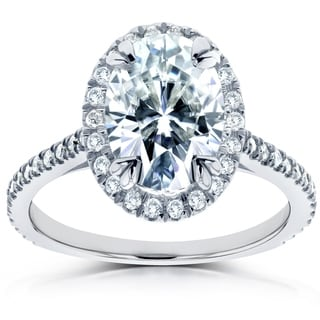 Annello By Kobelli 14k White Gold 1 4 5ct TGW Forever One Oval Moissanite And Diamond Halo Engagement Ring DEF VS GH I