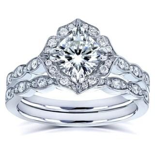 Annello By Kobelli 14k White Gold 1 1 2ct TGW Kobelli Moissanite And Diamond Vintage Floral Bridal Rings Set FG VS GH 1