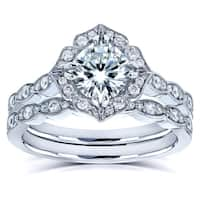 Annello by Kobelli 14k White Gold 1 1/2ct TGW Forever One Moissanite and Diamond Vintage Floral Bridal Rings Set (DEF/VS, GH/1)