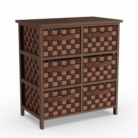 Porch & Den Haveford Woven Strap 6-drawer Brown Chest