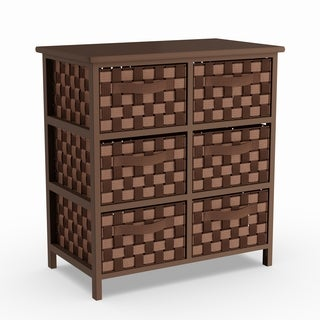 Porch & Den Haveford Woven Strap 6-drawer Brown Chest