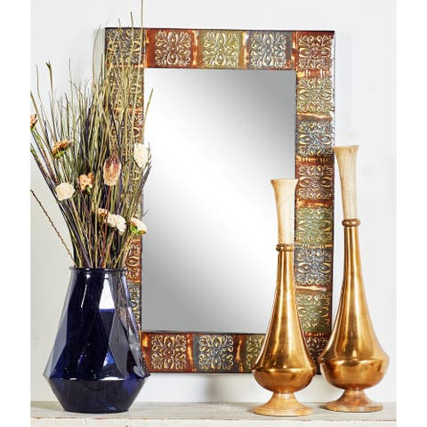 "The Curated Nomad Lotta Embossed Metal Wall Mirror - 36""H x 24''W x 2""D"