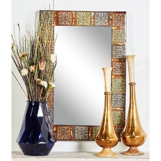 The Curated Nomad Lotta Embossed Metal Wall Mirror - Multi