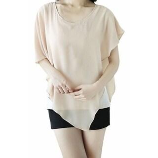 Simplicity Women's Summer Short Sleeve T-Shirt Office Blouse Pullover (Option: beiget - S)