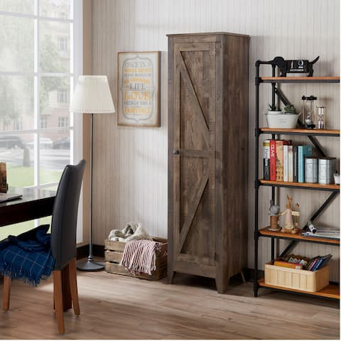 Brenwauld Rustic Oak Bookcase Cabinet by FOA