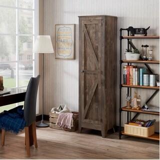 Furniture of America Brenwauld Rustic Farmhouse Bookcase Cabinet