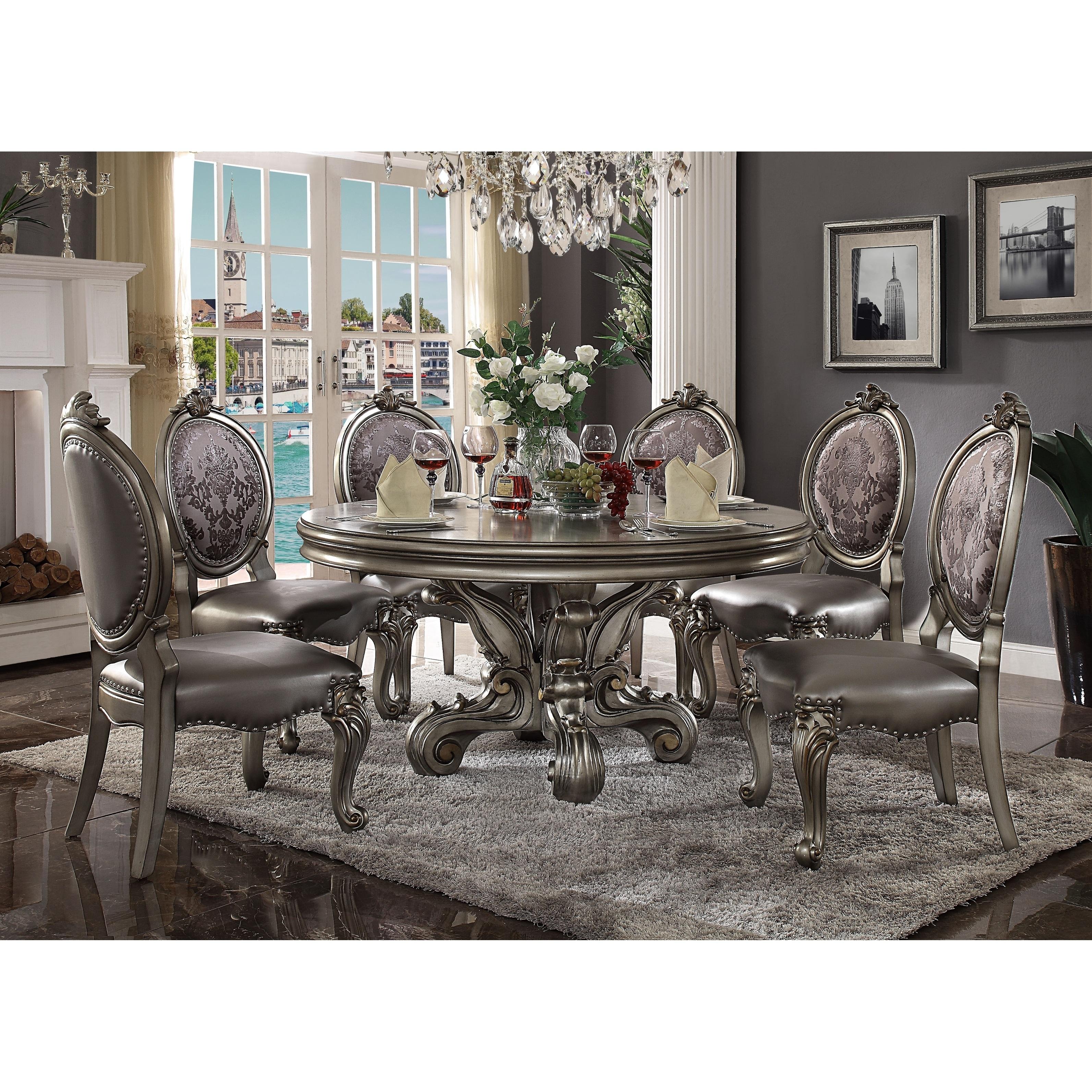 Acme Versailles Dining Table Round Pedestal Antique Platinum 1set 2ctn Antique Platinum