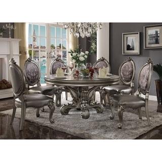 ACME Versailles Dining Table (Round Pedestal), Antique Platinum (1Set/2Ctn) - antique platinum