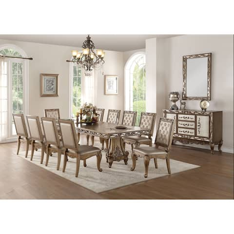 ACME Orianne Dining Table in Antique Gold