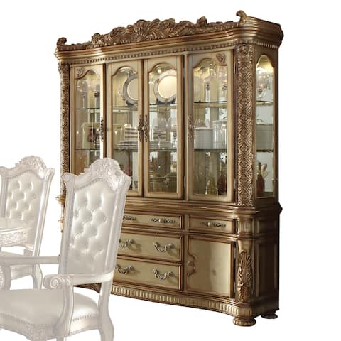 ACME Vendome Gold Patina and Bone-finish Hutch and Buffet
