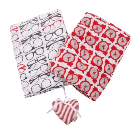 Pair of Large Cotton Baby Swaddler Blankets