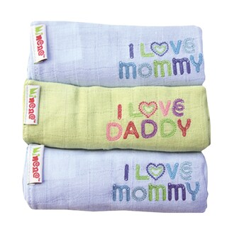 I Love Mom and Dad 3 Pack Cotton Baby Swaddlers (Option: Blue)