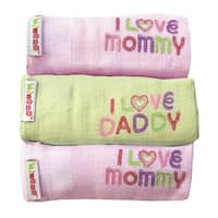 I Love Mom and Dad 3 Pack Cotton Baby Swaddlers
