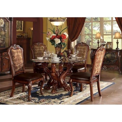 ACME Dresden Dining Table w/Pedestal, Cherry Oak (1Set/2Ctn) - Cherry Oak