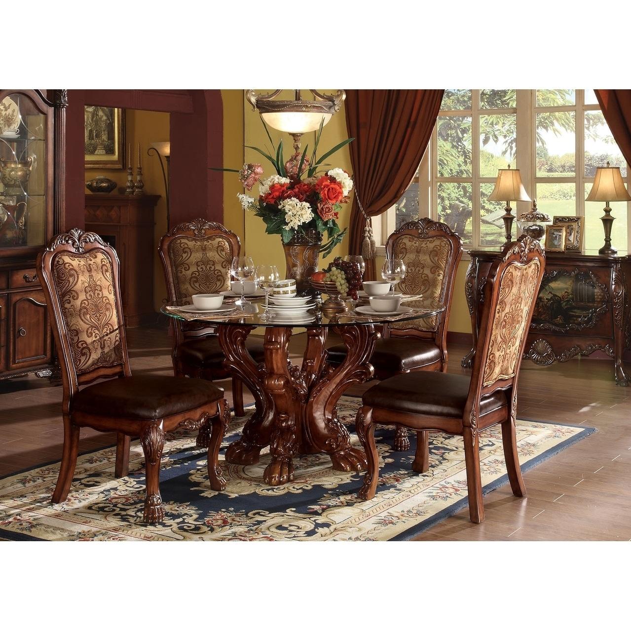 ACME Dresden Dining Table w/Pedestal, Cherry Oak 9Set/9Ctn ...