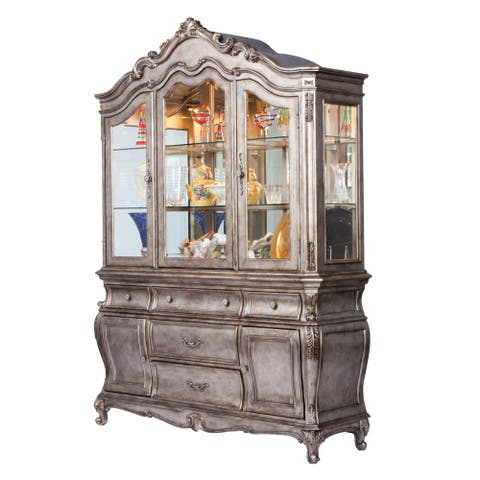 ACME Chantelle Antique Platinum Hutch & Buffet Set