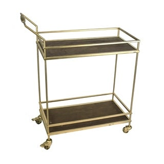 Glistening Metal And Wood Two Tiered Bar Cart, Gold