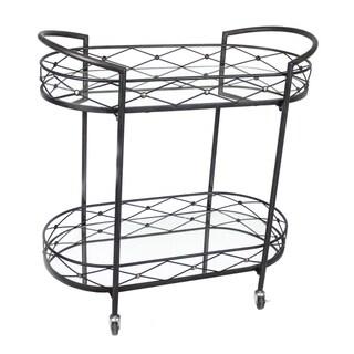 Impressive Metal Bar Cart With Mirror Shelves, Black