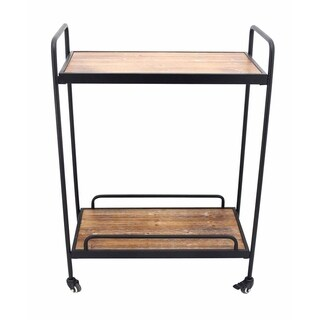 Wood And Metal Bar Cart With Casters, Black And Brown