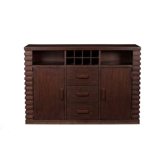 Wooden Sideboard With 3 Drawers And 2 Door Cabinets Brown