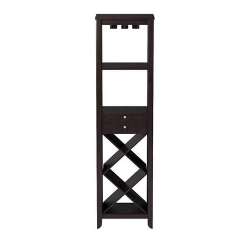 Wooden Wine Tower with Two Open Shelves and Pull Out Tray, Brown
