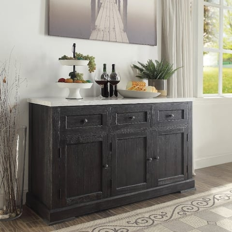 Commodious Wooden Server, White Marble Top & Weathered Black