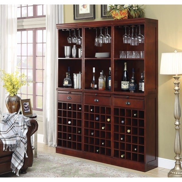 Traditional Style Ious Wine Wall Bar Unit In Wood Cherry Brown Free Shipping Today 21617206