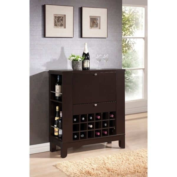 Shop Wooden Wine Cabinet With Drawer, Brown