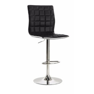 Waffle Adjustable Swivel Bar Stool, Black ,Set of 2