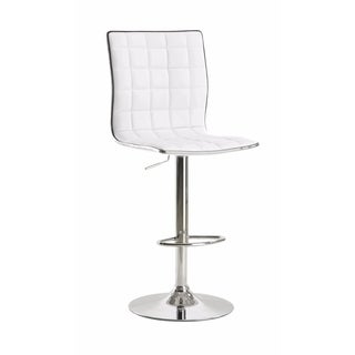 Waffle Adjustable Swivel Bar Stool, White ,Set of 2