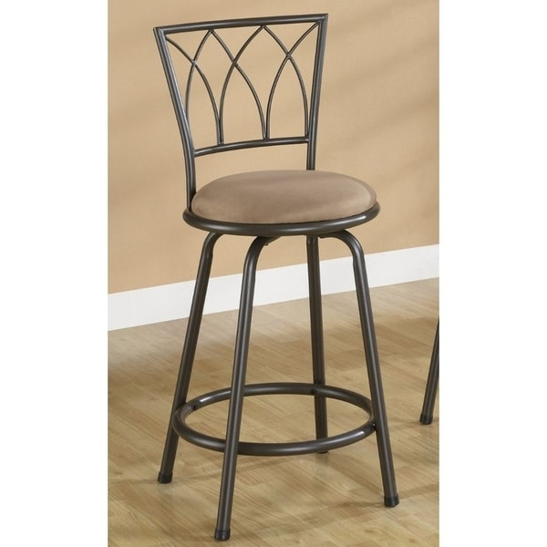 "Black Metal Bar Stool With Brown Microfiber Seat By: Shop Contemporary 24"" Metal Bar Stool With Upholstered"