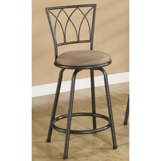 "Contemporary 24"" Metal Bar Stool with Upholstered Seat, Black & Brown, Set of 2"