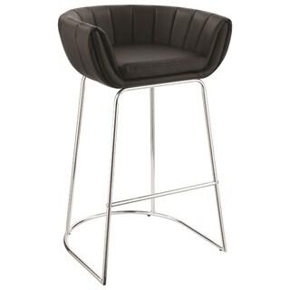 Modern low back bar stool with metal base, Black, Set of 2