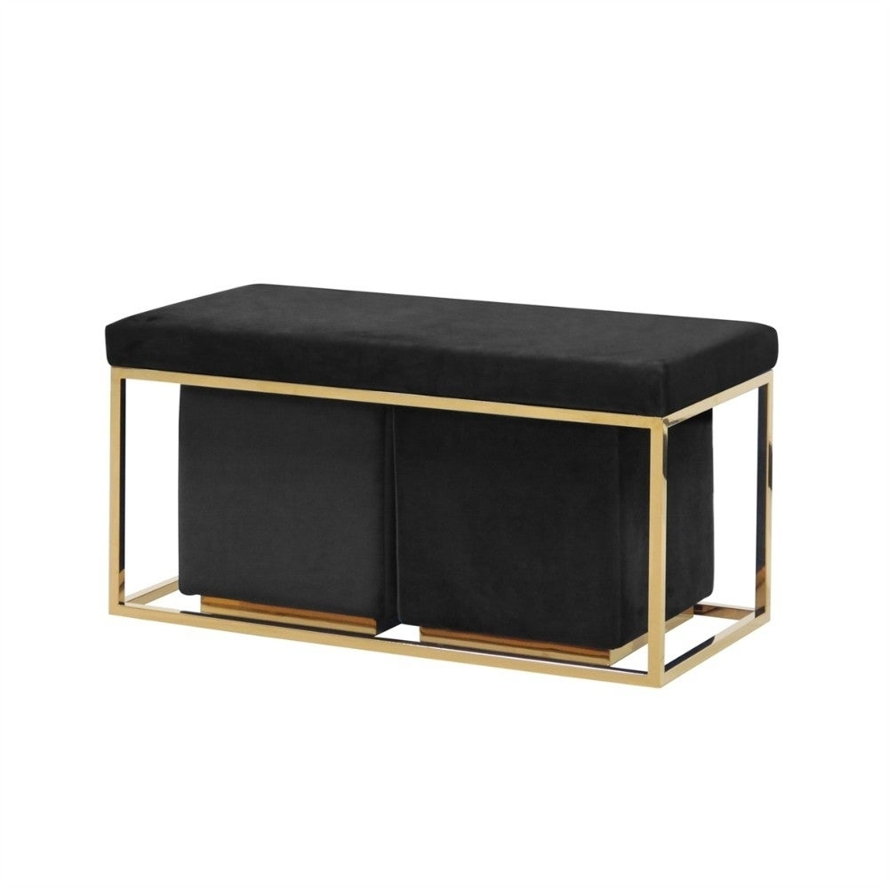 Incredible Elegant Set Of 3 Bench And Ottoman Black And Gold Pdpeps Interior Chair Design Pdpepsorg